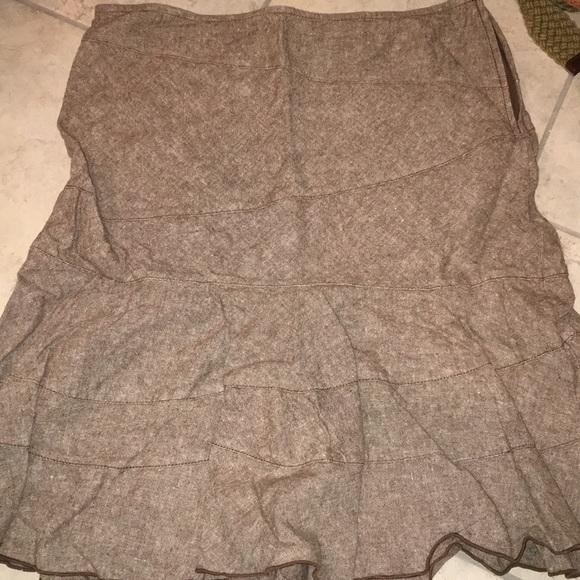 Dkny Dresses & Skirts - DKNY Brown linen flowy Skirt